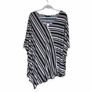 Autograph Top Plus Size XL  White Black Stripes Tunic Short Sleeve Stretchy