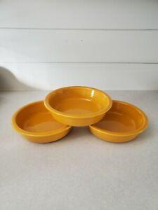 "HLC Fiesta Ware 3 Gold Mustard Deep Yellow  Bowls 7"""