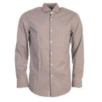 "HUGO BOSS Shirt Navy Brown Check Slim Fit Size 41cm / 16"" Collar RRP £89 TR 168"