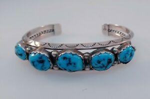 Sterling Silver Yazzie Cuff Bracelet Gorgeous Navajo Multi Turquoise Design