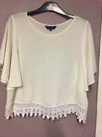 New Look Off White Crochet Hem Frill Sleeve Chiffon Top/Blouse Size 12