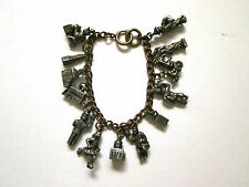 Vtg 1950's New York City many pewter charm bracelet