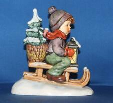 "Large Hummel Goebel 396 /I Ride Into Christmas Boy Sled 5.75"" Figurine TMK7"