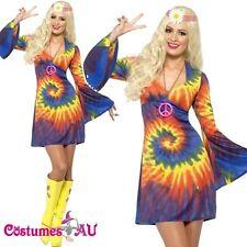 Ladies Tie Dye 60s 70s Hippy Costume womens 1960s 1970s Go Go Hippie Fancy Dress