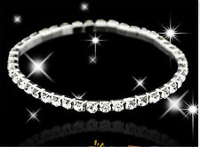 Clear Crystal White Gold Plated Stretch Bracelet