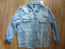 WOMENS H&M DIVIDED BLUE DENIM JACKET BUTTON DOWN DISTRESSED SIZE 8 US 38 EUR NWT