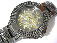 Iced Out Bling Bling Hip Hop Black Metal Techno King Men's Watch Item 3303