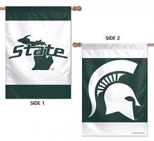 """Michigan State Spartans Vertical 2 Sided House Flag NCAA Licensed 28"""" x 40"""""""
