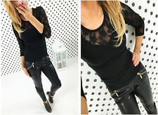 New Fashion Womens Sexy Long Sleeve Shirt Casual Lace Blouse Ladies Cotton Tops
