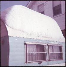 Snow Packed on Camper Travel Trailer Abstract Vintage 1970 Slide Photo