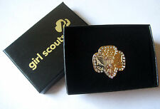 """Girl Scout """"BLING"""" TRADITIONAL BROOCH Gold Trefoil Broach Pin Jewelry GIFT New"""