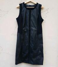 Belstaff Womens Sleeveless Leather Sheath Dress Size 46 US 12 XL Black Zipper