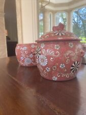 2 chinoiserie pots bowls planters one with lid