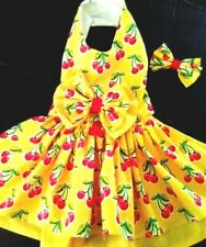 Dog harness Dress Cherries  on yellow NEW FREE SHIPPING