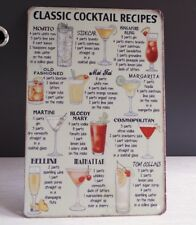 Classic Cocktail Ricette latta retrò segni Placca Di Metallo Pub Bar Wall Decor hainging