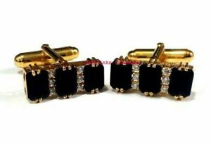 Natural Black Onyx & CZ Gemstones with 925 Sterling Silver Gold Finish Cufflinks