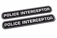 "Police Interceptor Domed Decal Emblem chrome car biker stickers 5""x 0.82"" 2pc."