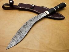 Rody Stan HAND MADE DAMASCUS KHUKRI KUKRI BOWIE KNIFE - HARD WOOD - M-2359