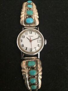GL Leekity Zuni Native American Southwestern Sterling Ladies Watch Band