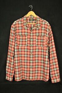 Double RL RRL Ralph Lauren 100% Cotton Red, White & Gray Plaid Work Shirt XL