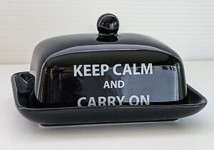 The Old Pottery Company Butter Dish Black Keep Calm & Carry On Modern