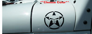 Military Star w/ Skull Decals - PAIR Fender Jeep Wrangler Ford Ram 19   FIT