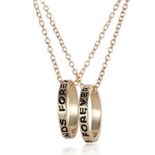 2pcs Best Friends Forever  Circle Ring Pendant Friendship gold plated Necklace