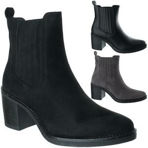 Womens Ladies Pointed Toe Pull On Mid Block High Heel Chelsea Ankle Boots Size