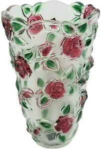 Celebrations Mikasa Rose Garden Red Green Floral Glass 9.5 Inch Flower Vase CHIP