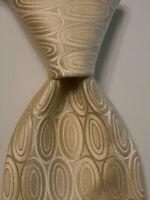 ERMENEGILDO ZEGNA Men's Silk Necktie ITALY Luxury Designer Geometric Ivory EUC