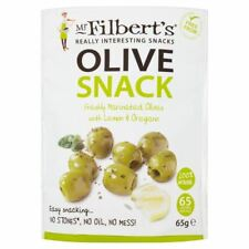 Mr Filberts Olive Snacks Pitted Green Olives with Lemon & Oregano - 65g