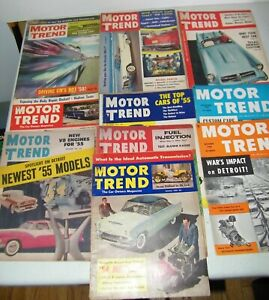 ( 10 )Vintage Motor Trend Magazines From  1950,1952,1954,1955, 1957 Fair to Good