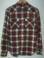 Banana Republic Pearl Snap Western Shirt Men's Small Black/Red Plaid Slim Fit