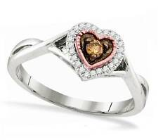 Chocolate Brown Solitaire & White Diamond Ring 10K White Gold Heart Ring .14ct