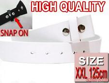 WHITE EXTRA LARGE 125cm Easy Snapon PU Leather snap on mens womens unisex belt