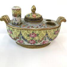 Antique Hand Painted Porcelain Inkstand Sevres Mark Possibly Sevres Brass Mounts