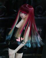 Bjd Wig Dal Pullip BJD SD 1/3 8-9  LUTS supper Dollfie Doll Hair PURPLE MIX
