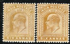 India1902 olive-bistre 6a maize 6a watermark star perf 14 mint SG131/132