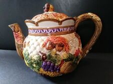 Fitz and Floyd 1995 Omnibus Harvest Time Teapot New Fall Themed Retired Pattern