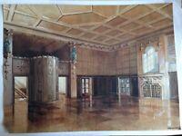 Großes Art Deco Architektur Aquarell mit Saal Villa Grosses Zimmer