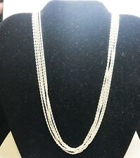 """925 Sterling Silver 5 Multi Strand Rope Chain 1.8mm Necklace 30gr 18"""" Italy"""