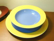 Lindt Stymeist Colorways Rimmed SoupBowl+Dinner Plate~Yellow Blue Periwinkle~New