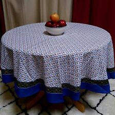 Handmade 100% Cotton Floral Vine 60 Inch Round Tablecloth Blue Green