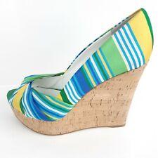 Nine West Chillpill Womens Wedge Platform Sandal Cork Sz 9 Striped Blue Green