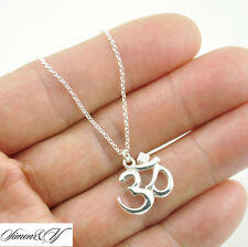 Real Sterling Silver OM OHM AUM Hindu India Great God Amulet Pendant Necklace