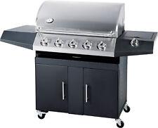 Barbecue a Gas GPL e Metano Black Inox 5 fuochi con Pietra Lavica