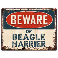 PPDG0163 Beware of BEAGLE HARRIER Plate Rustic TIN Chic Decor Sign