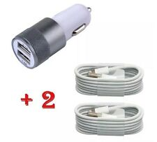 Apple iPhone 6/5/5S/5C In Car Super Fast Car Charger + 2x 8 Pin Data Usb Cable