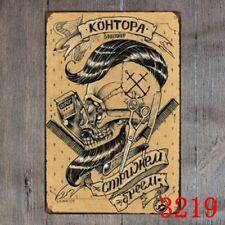 Barber Shop Skul Sticker Metal Tin Sign Decor Bar Pub Home Vintage Retro Poster