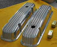 pontiac 326-455 Polished Aluminum Valve Covers Finned NICE!!!